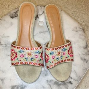 Shoes - Floral Colorful Embroidered Slip On Wedge Sandal